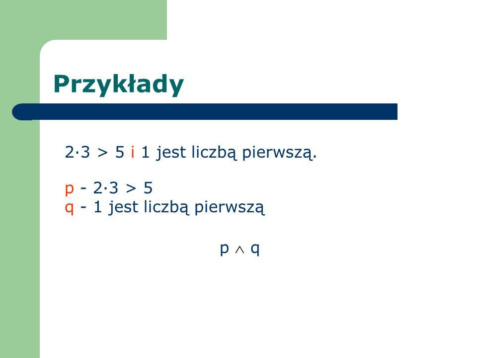 Przykłady 2·3 > 5 i 1 jest liczbą pierwszą. p - 2·3 > 5 q - 1 jest liczbą pierwszą p q