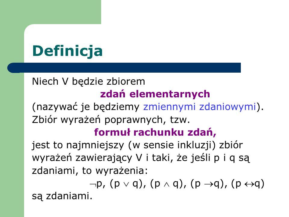 Definicja Niech V będzie zbiorem zdań elementarnych (nazywać je będziemy zmiennymi zdaniowymi). Zbiór wyrażeń poprawnych, tzw. formuł rachunku zdań, j