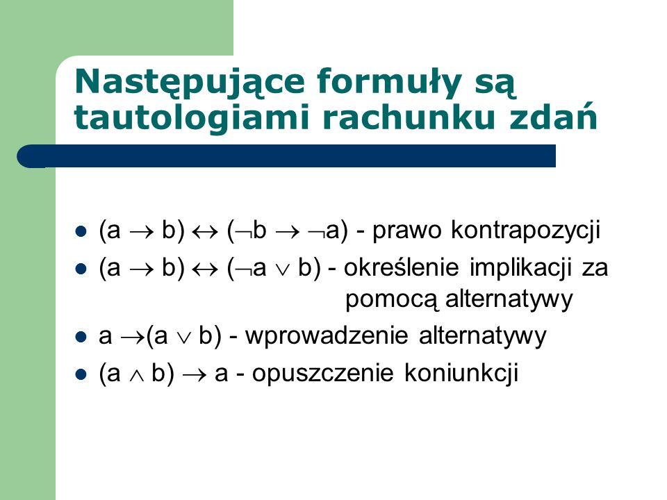 Następujące formuły są tautologiami rachunku zdań (a b) ( b a) - prawo kontrapozycji (a b) ( a b) - określenie implikacji za pomocą alternatywy a (a b