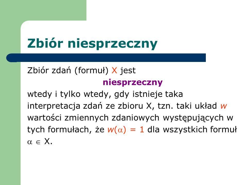 Zbiór niesprzeczny Zbiór zdań (formuł) X jest niesprzeczny wtedy i tylko wtedy, gdy istnieje taka interpretacja zdań ze zbioru X, tzn. taki układ w wa