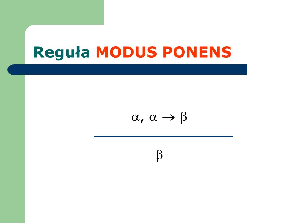 Reguła MODUS PONENS,