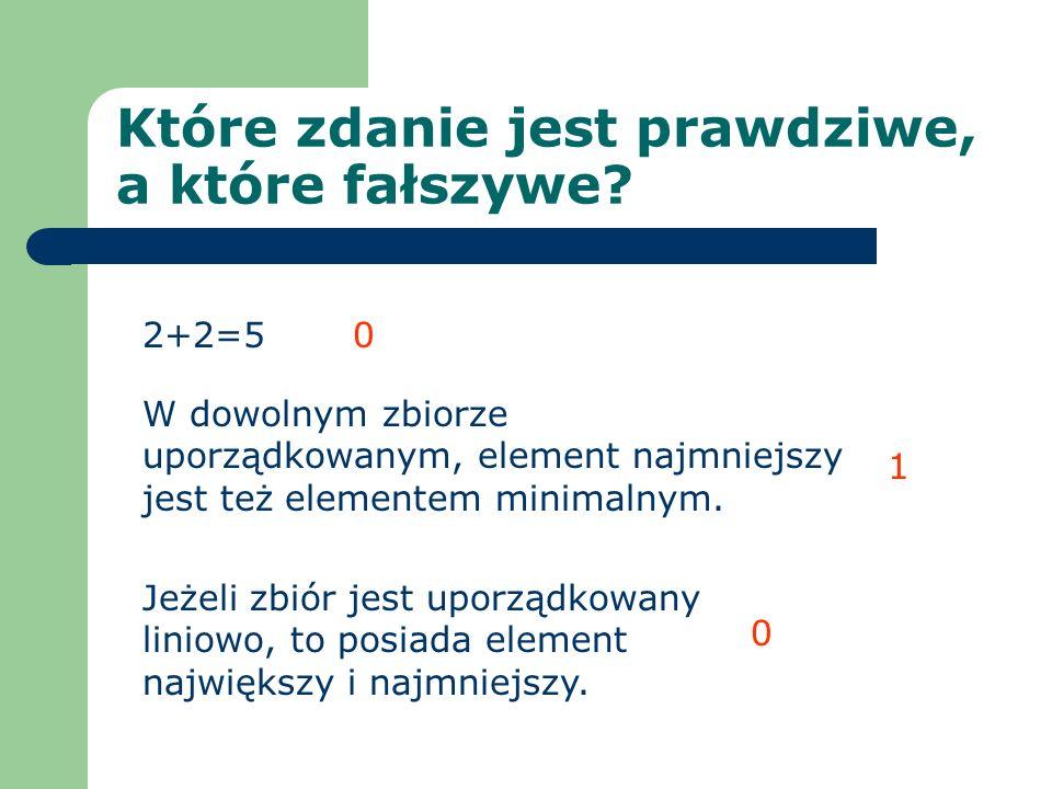 Które zdanie jest prawdziwe, a które fałszywe? 2+2=5 W dowolnym zbiorze uporządkowanym, element najmniejszy jest też elementem minimalnym. Jeżeli zbió