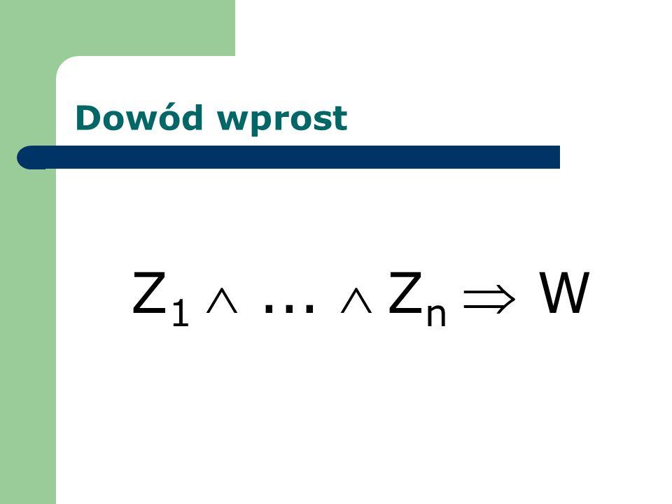 Dowód wprost Z 1... Z n W
