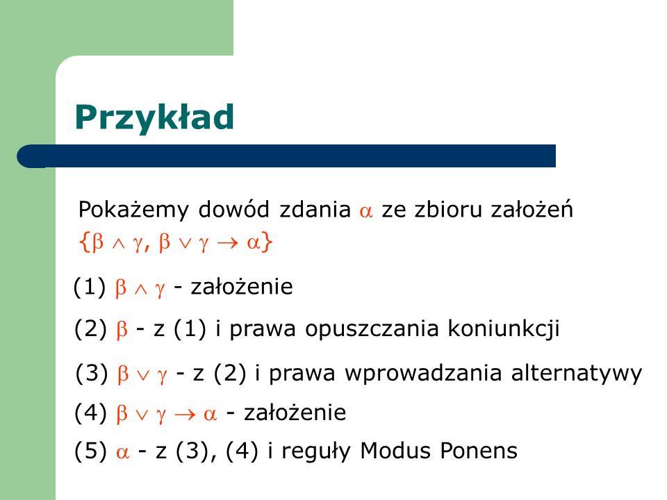 Przykład Pokażemy dowód zdania ze zbioru założeń {, } (1) - założenie (2) - z (1) i prawa opuszczania koniunkcji (3) - z (2) i prawa wprowadzania alte