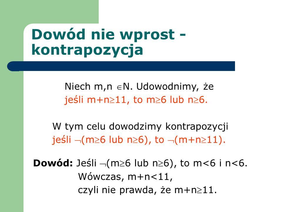 Dowód nie wprost - kontrapozycja Niech m,n N. Udowodnimy, że jeśli m+n11, to m6 lub n6. W tym celu dowodzimy kontrapozycji jeśli (m6 lub n6), to (m+n1