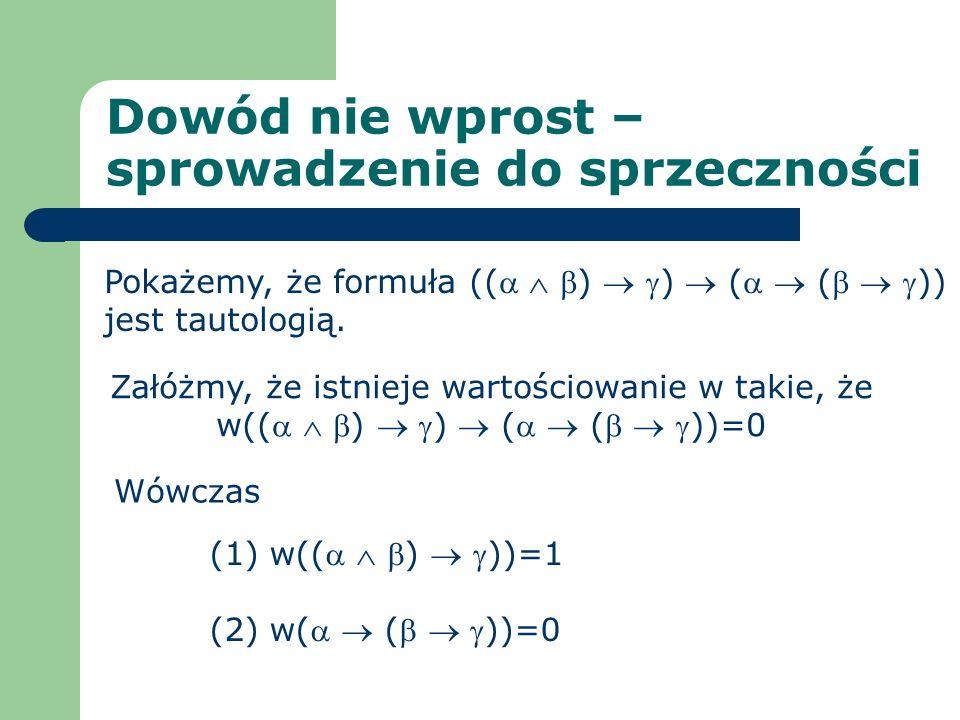 Dowód nie wprost – sprowadzenie do sprzeczności Pokażemy, że formuła (( ) ) ( ( )) jest tautologią. (1) w(( ) ))=1 (2) w( ( ))=0 Załóżmy, że istnieje