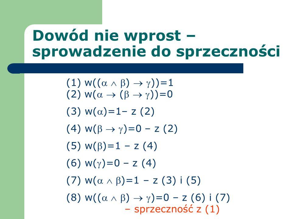 Dowód nie wprost – sprowadzenie do sprzeczności (1) w(( ) ))=1 (2) w( ( ))=0 (6) w()=0 – z (4) (3) w()=1– z (2) (8) w(( ) )=0 – z (6) i (7) – sprzeczn