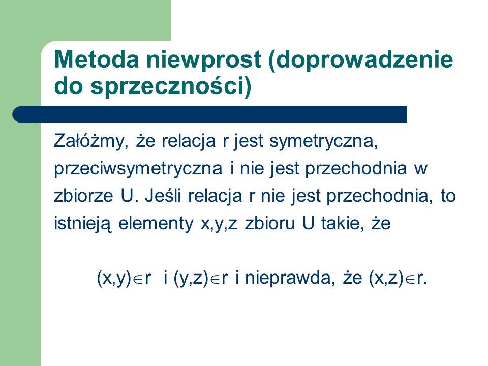 Metoda niewprost (doprowadzenie do sprzeczności) Załóżmy, że relacja r jest symetryczna, przeciwsymetryczna i nie jest przechodnia w zbiorze U. Jeśli