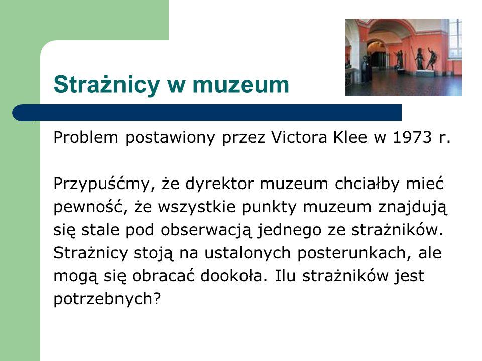 Strażnicy w muzeum Problem postawiony przez Victora Klee w 1973 r. Przypuśćmy, że dyrektor muzeum chciałby mieć pewność, że wszystkie punkty muzeum zn