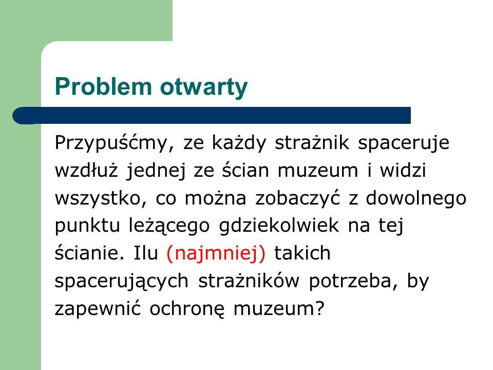 Problem otwarty Przypuśćmy, ze każdy strażnik spaceruje wzdłuż jednej ze ścian muzeum i widzi wszystko, co można zobaczyć z dowolnego punktu leżącego