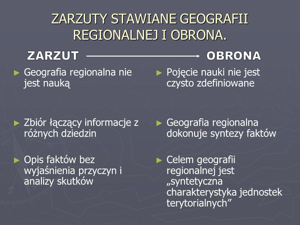 ZARZUTY STAWIANE GEOGRAFII REGIONALNEJ I OBRONA.