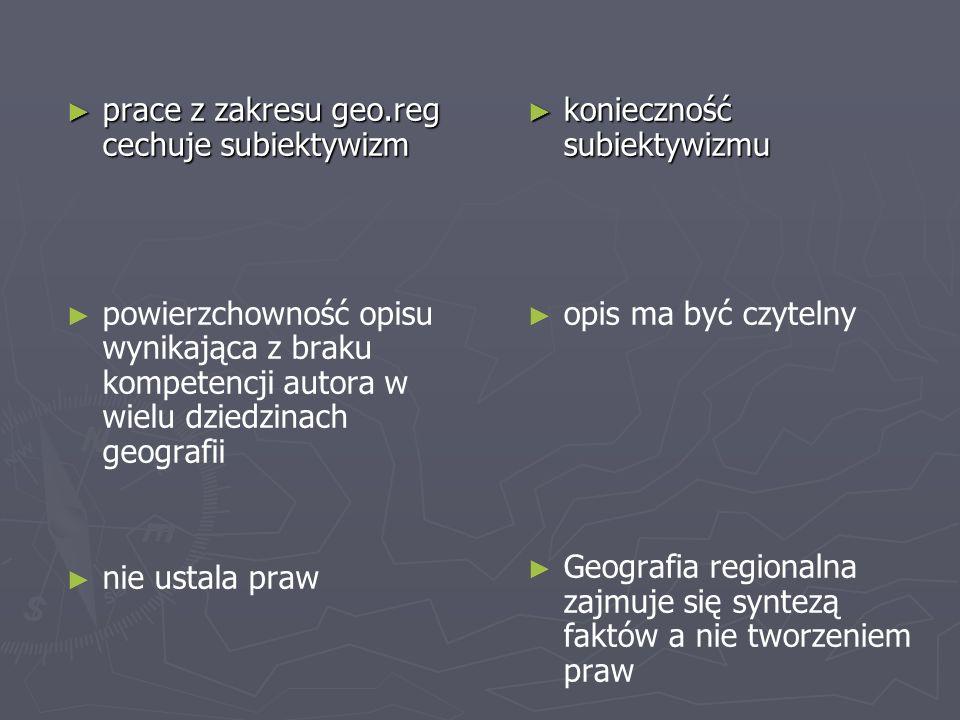 prace z zakresu geo.reg cechuje subiektywizm prace z zakresu geo.reg cechuje subiektywizm powierzchowność opisu wynikająca z braku kompetencji autora w wielu dziedzinach geografii nie ustala praw konieczność subiektywizmu opis ma być czytelny Geografia regionalna zajmuje się syntezą faktów a nie tworzeniem praw