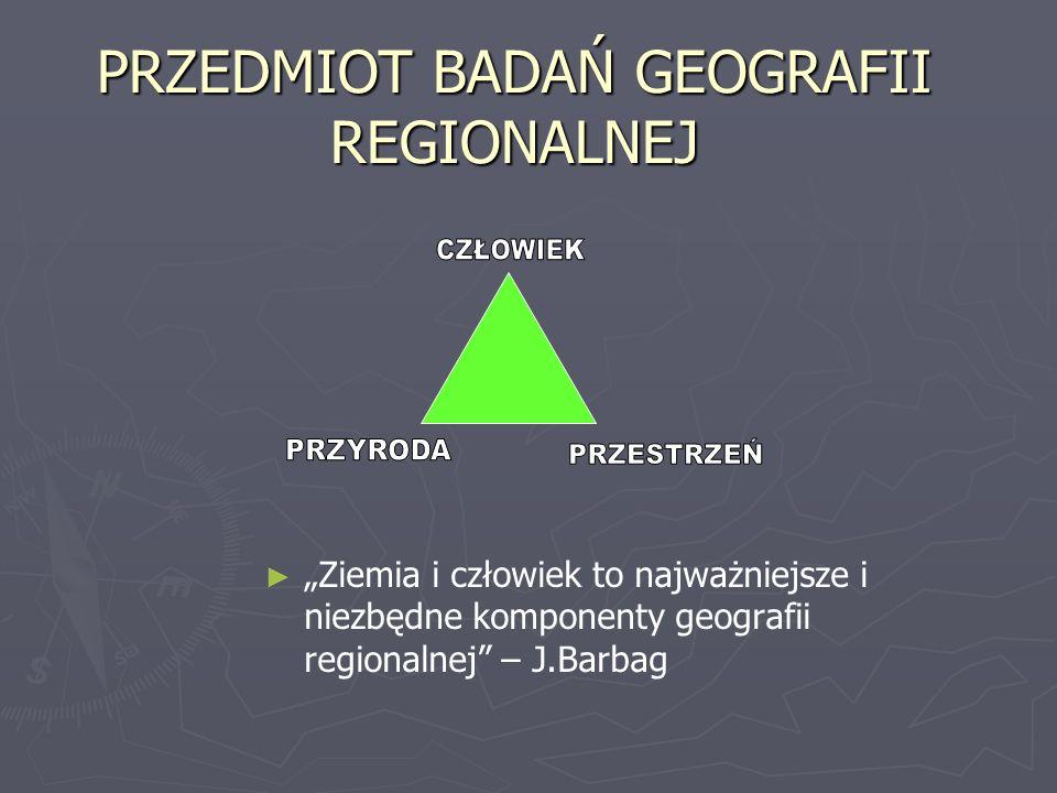 PRZEDMIOT BADAŃ GEOGRAFII REGIONALNEJ Ziemia i człowiek to najważniejsze i niezbędne komponenty geografii regionalnej – J.Barbag