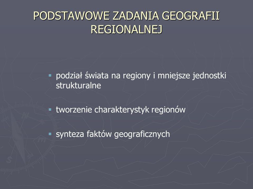 PODSTAWOWE ZADANIA GEOGRAFII REGIONALNEJ podział świata na regiony i mniejsze jednostki strukturalne tworzenie charakterystyk regionów synteza faktów geograficznych