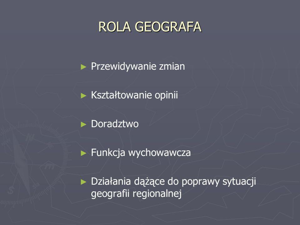 ROLA GEOGRAFA Przewidywanie zmian Kształtowanie opinii Doradztwo Funkcja wychowawcza Działania dążące do poprawy sytuacji geografii regionalnej