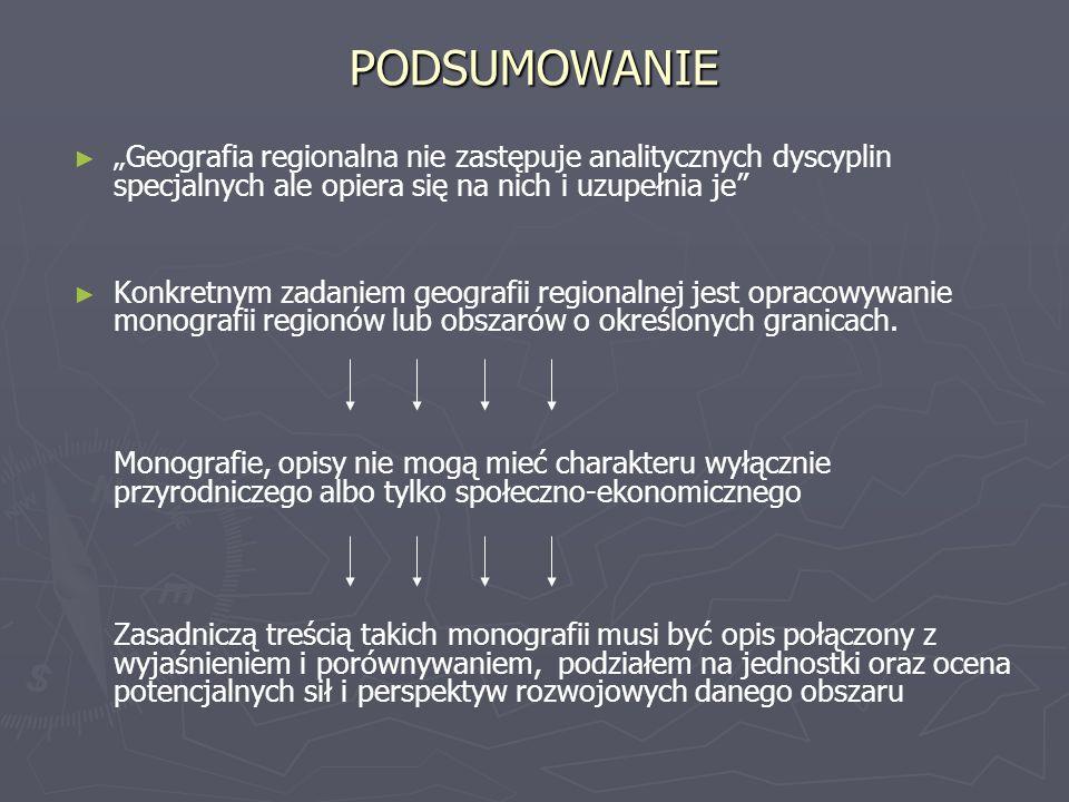 PODSUMOWANIE Geografia regionalna nie zastępuje analitycznych dyscyplin specjalnych ale opiera się na nich i uzupełnia je Konkretnym zadaniem geografii regionalnej jest opracowywanie monografii regionów lub obszarów o określonych granicach.