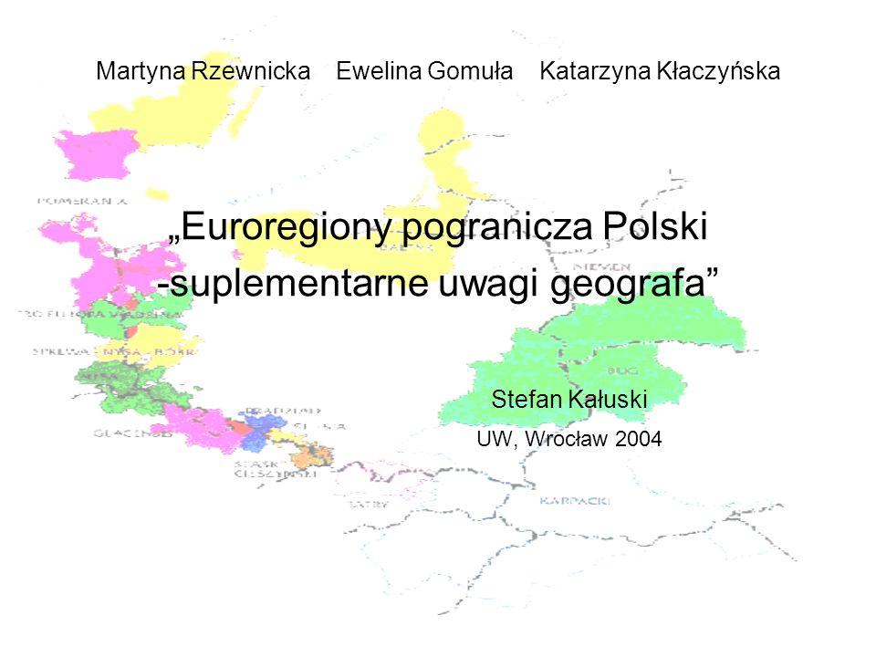 Regiony geograficzne w obrębie euroregionów, a możliwości współpracu transgranicznej Głównym problemem jest brak wydzielania na obszarach euroregionów, zwłaszcza położonych w bezpośrednim sąsiedztwie, granicy regionów geograficznych jako podłoża określonych poczynań gospodarczych, bo przecież region geograficzny to obszar na którym człowiek organizuje swoje życie dostosowując się do warunków przyrodniczych Janiszewski M., 1959
