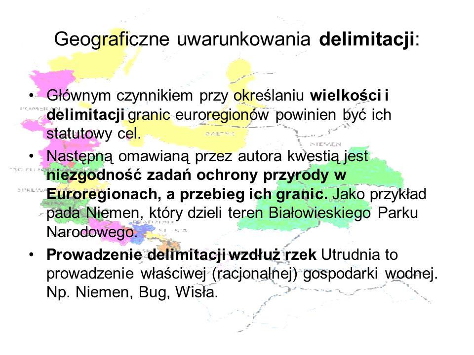 Geograficzne uwarunkowania delimitacji: Głównym czynnikiem przy określaniu wielkości i delimitacji granic euroregionów powinien być ich statutowy cel.