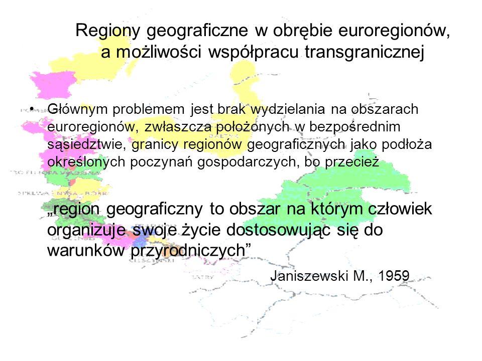 Regiony geograficzne w obrębie euroregionów, a możliwości współpracu transgranicznej Głównym problemem jest brak wydzielania na obszarach euroregionów