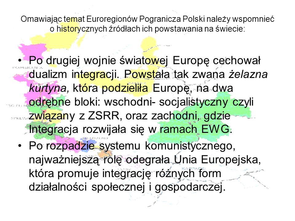 Omawiając temat Euroregionów Pogranicza Polski należy wspomnieć o historycznych źródłach ich powstawania na świecie: Po drugiej wojnie światowej Europ