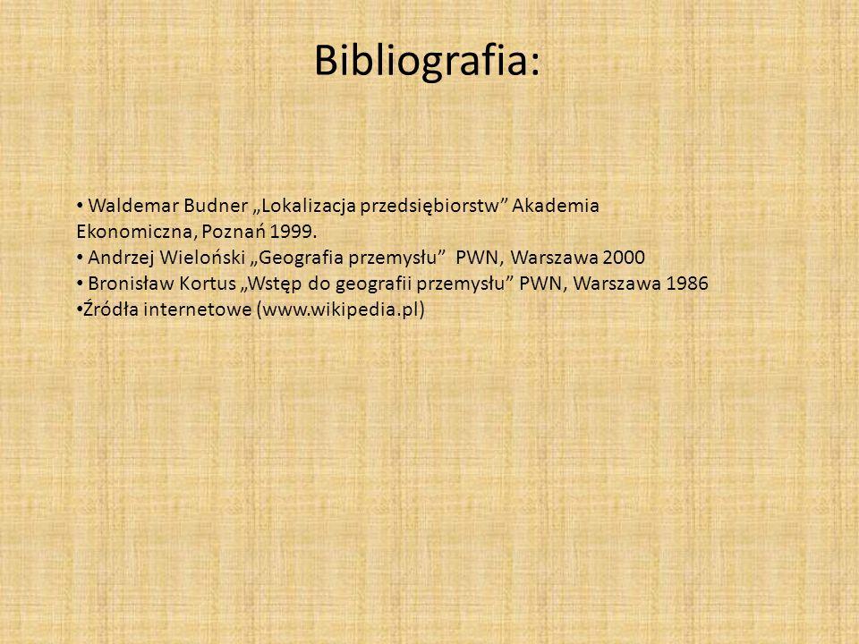 Bibliografia: Waldemar Budner Lokalizacja przedsiębiorstw Akademia Ekonomiczna, Poznań 1999. Andrzej Wieloński Geografia przemysłu PWN, Warszawa 2000