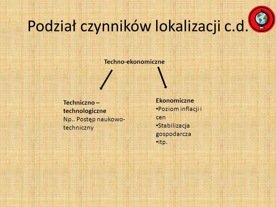 Podział czynników lokalizacji c.d.Społeczno- kulturowe Np.