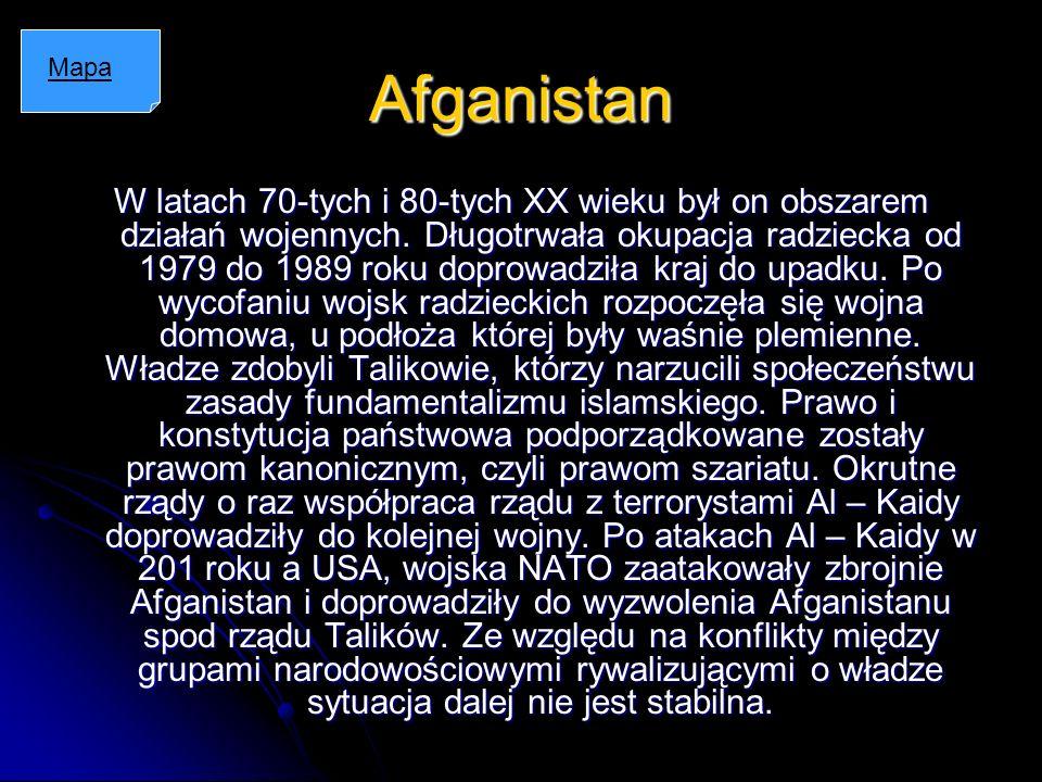 Afganistan W latach 70-tych i 80-tych XX wieku był on obszarem działań wojennych. Długotrwała okupacja radziecka od 1979 do 1989 roku doprowadziła kra