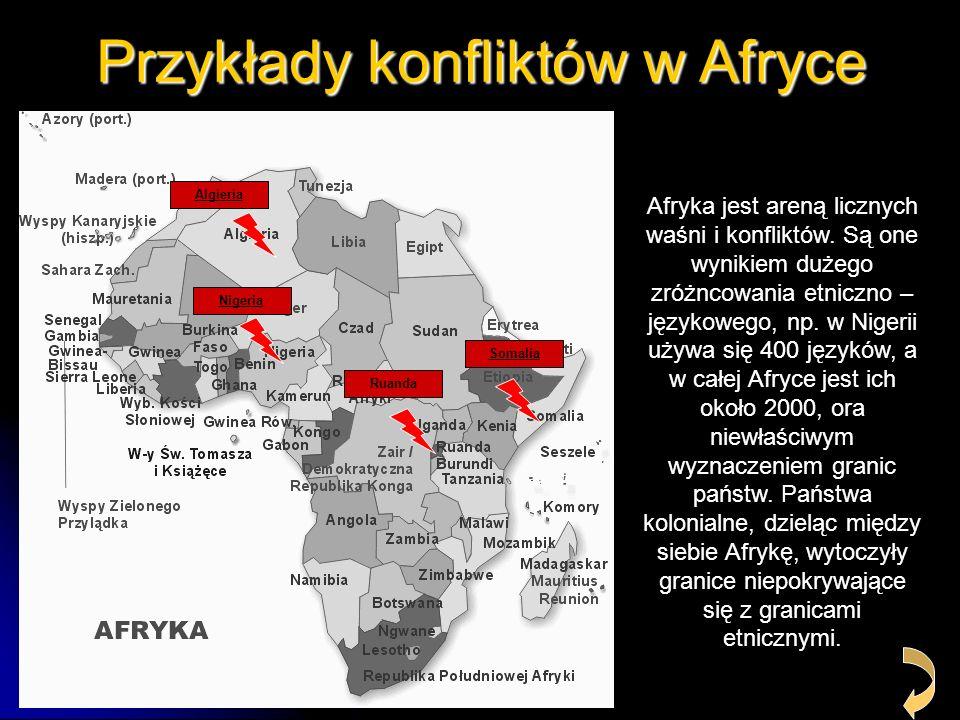 Przykłady konfliktów w Afryce Algieria Nigeria Ruanda Somalia Afryka jest areną licznych waśni i konfliktów. Są one wynikiem dużego zróżncowania etnic