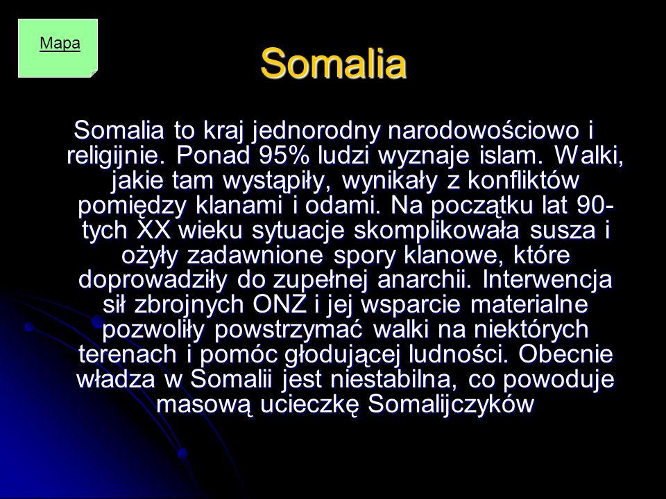 Somalia Somalia to kraj jednorodny narodowościowo i religijnie. Ponad 95% ludzi wyznaje islam. Walki, jakie tam wystąpiły, wynikały z konfliktów pomię