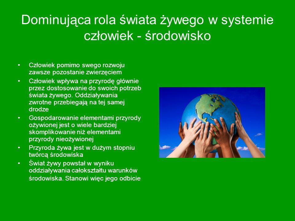 Dominująca rola świata żywego w systemie człowiek - środowisko Człowiek pomimo swego rozwoju zawsze pozostanie zwierzęciem Człowiek wpływa na przyrodę