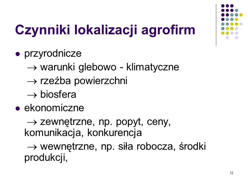 12 Czynniki lokalizacji agrofirm przyrodnicze warunki glebowo - klimatyczne rzeźba powierzchni biosfera ekonomiczne zewnętrzne, np. popyt, ceny, komun
