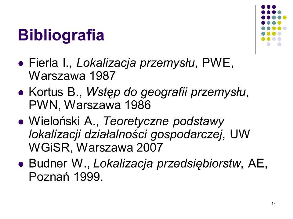 18 Bibliografia Fierla I., Lokalizacja przemysłu, PWE, Warszawa 1987 Kortus B., Wstęp do geografii przemysłu, PWN, Warszawa 1986 Wieloński A., Teorety