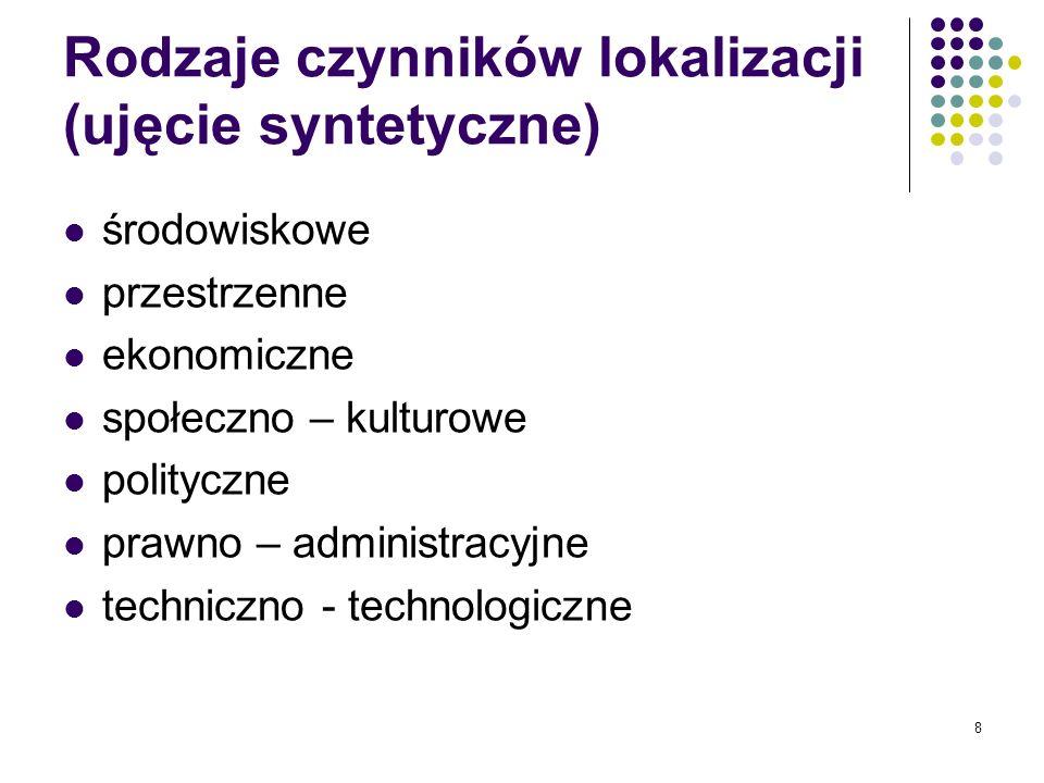 8 Rodzaje czynników lokalizacji (ujęcie syntetyczne) środowiskowe przestrzenne ekonomiczne społeczno – kulturowe polityczne prawno – administracyjne t