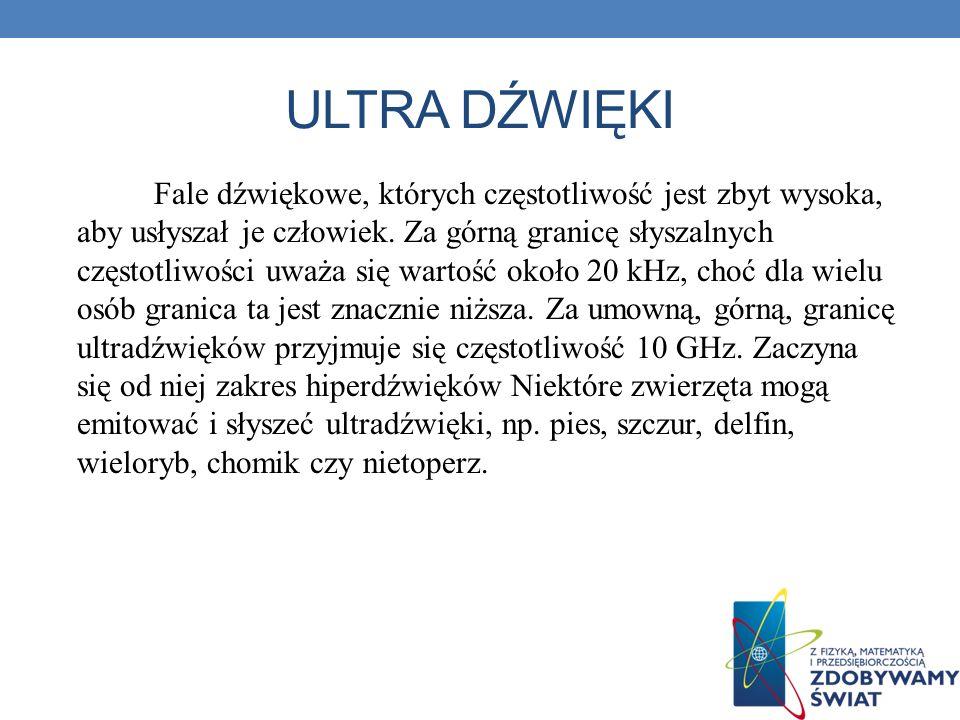 ULTRA DŹWIĘKI Fale dźwiękowe, których częstotliwość jest zbyt wysoka, aby usłyszał je człowiek. Za górną granicę słyszalnych częstotliwości uważa się