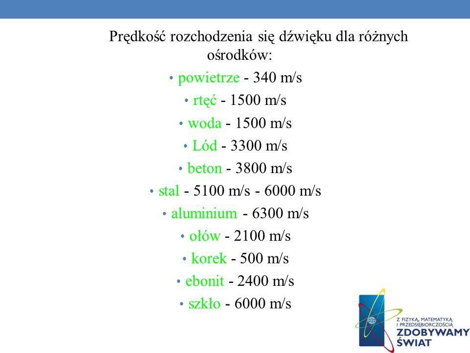 Prędkość rozchodzenia się dźwięku dla różnych ośrodków: powietrze - 340 m/s rtęć - 1500 m/s woda - 1500 m/s Lód - 3300 m/s beton - 3800 m/s stal - 5100 m/s - 6000 m/s aluminium - 6300 m/s ołów - 2100 m/s korek - 500 m/s ebonit - 2400 m/s szkło - 6000 m/s