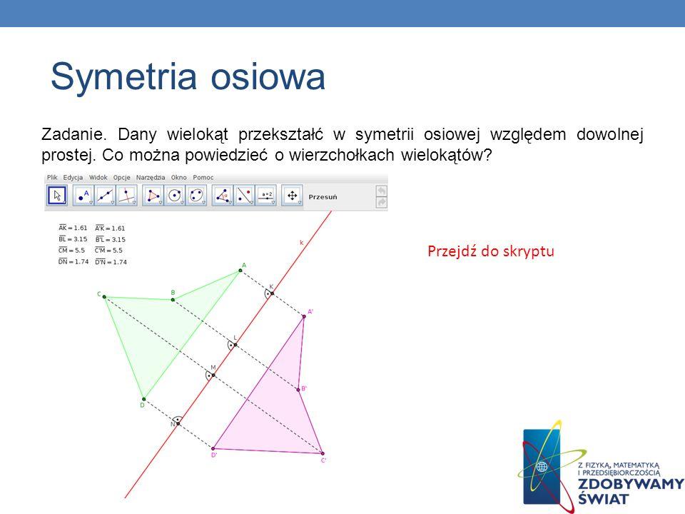 Zadanie. Dany wielokąt przekształć w symetrii osiowej względem dowolnej prostej. Co można powiedzieć o wierzchołkach wielokątów? Przejdź do skryptu Sy