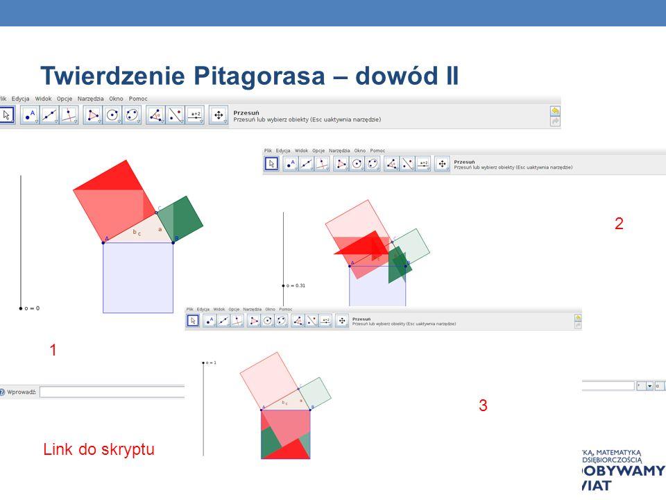 Twierdzenie Pitagorasa – dowód II 1 2 3 Link do skryptu