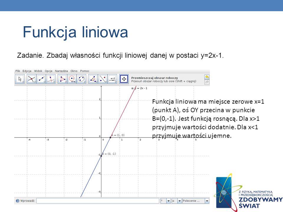 Zadanie. Zbadaj własności funkcji liniowej danej w postaci y=2x-1. Funkcja liniowa ma miejsce zerowe x=1 (punkt A), oś OY przecina w punkcie B=(0,-1).