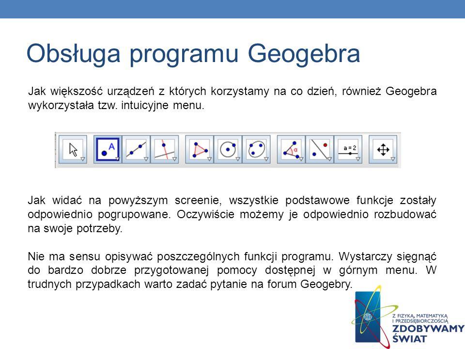 Jak większość urządzeń z których korzystamy na co dzień, również Geogebra wykorzystała tzw. intuicyjne menu. Jak widać na powyższym screenie, wszystki