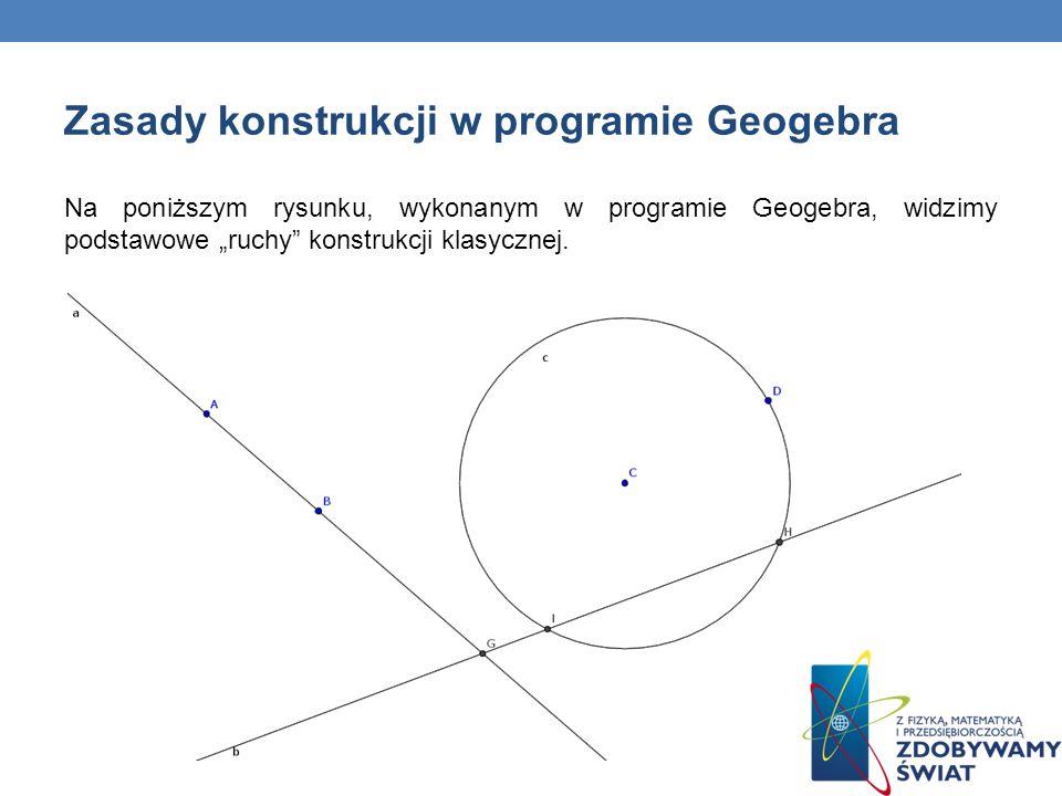 Na poniższym rysunku, wykonanym w programie Geogebra, widzimy podstawowe ruchy konstrukcji klasycznej.