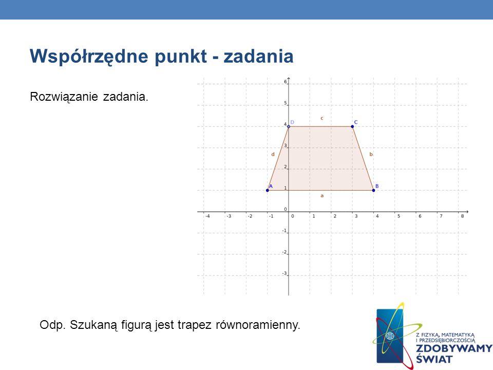 Współrzędne punkt - zadania Rozwiązanie zadania. Odp. Szukaną figurą jest trapez równoramienny.