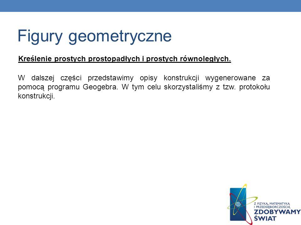Kreślenie prostych prostopadłych i prostych równoległych. W dalszej części przedstawimy opisy konstrukcji wygenerowane za pomocą programu Geogebra. W