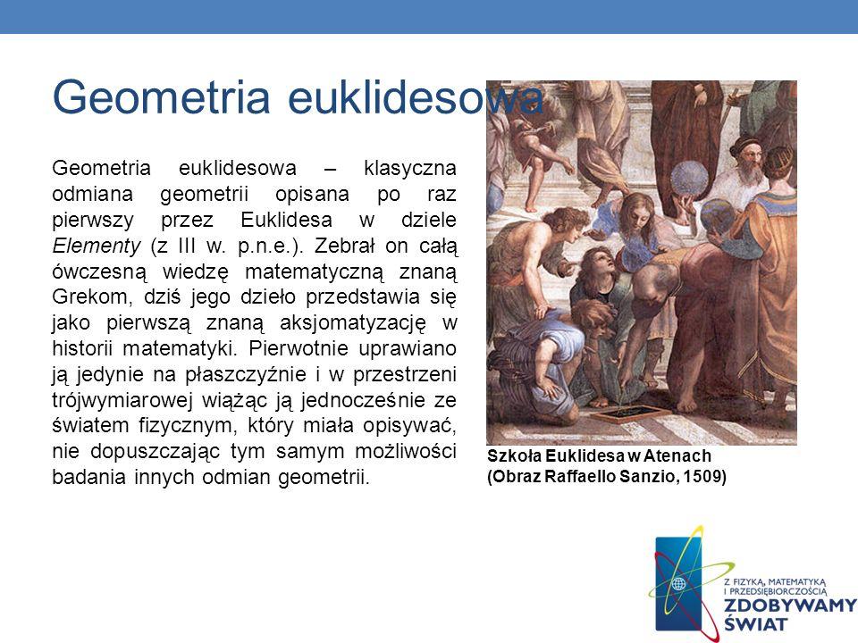 Geometria euklidesowa – klasyczna odmiana geometrii opisana po raz pierwszy przez Euklidesa w dziele Elementy (z III w. p.n.e.). Zebrał on całą ówczes