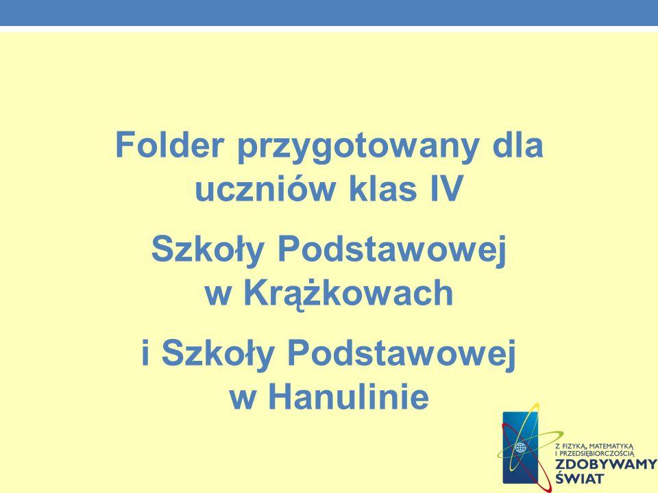 Folder przygotowany dla uczniów klas IV Szkoły Podstawowej w Krążkowach i Szkoły Podstawowej w Hanulinie