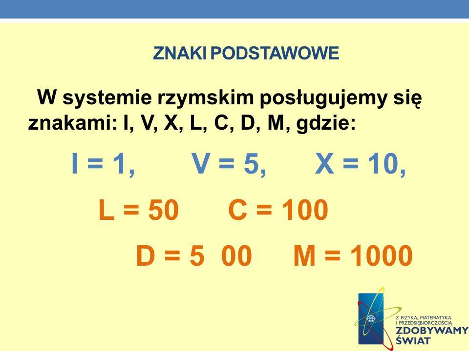 ZNAKI PODSTAWOWE W systemie rzymskim posługujemy się znakami: I, V, X, L, C, D, M, gdzie: I = 1, V = 5, X = 10, L = 50 C = 100 D = 5 00 M = 1000