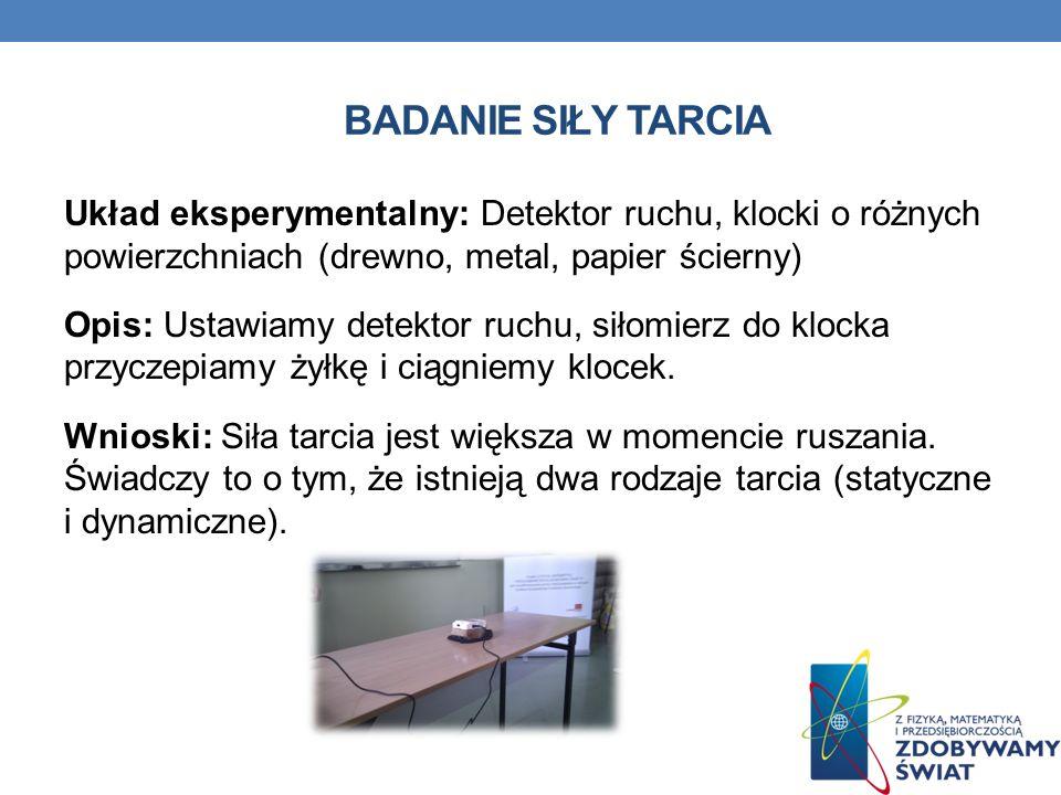 BADANIE SIŁY TARCIA Układ eksperymentalny: Detektor ruchu, klocki o różnych powierzchniach (drewno, metal, papier ścierny) Opis: Ustawiamy detektor ru
