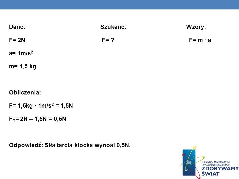 Dane: Szukane: Wzory: F= 2N F= ? F= m a a= 1m/s 2 m= 1,5 kg Obliczenia: F= 1,5kg 1m/s 2 = 1,5N F T = 2N – 1,5N = 0,5N Odpowiedź: Siła tarcia klocka wy