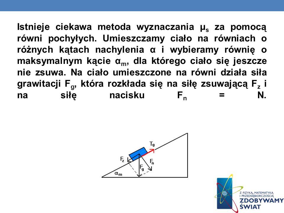 Istnieje ciekawa metoda wyznaczania μ s za pomocą równi pochyłych. Umieszczamy ciało na równiach o różnych kątach nachylenia α i wybieramy równię o ma