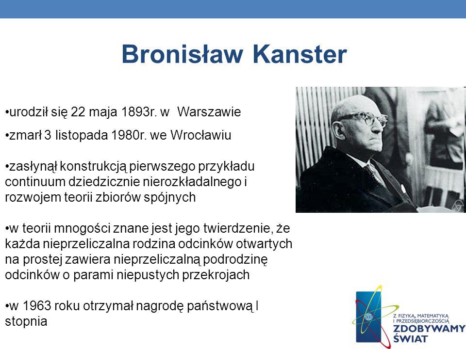 Bronisław Kanster urodził się 22 maja 1893r. w Warszawie zmarł 3 listopada 1980r. we Wrocławiu zasłynął konstrukcją pierwszego przykładu continuum dzi