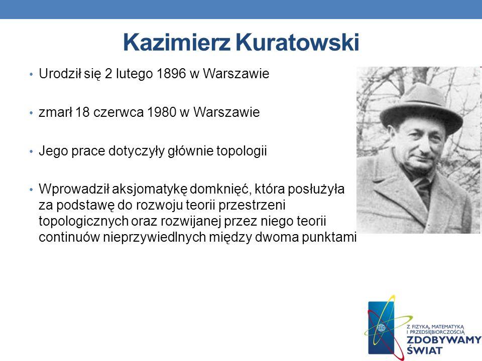 Kazimierz Kuratowski Urodził się 2 lutego 1896 w Warszawie zmarł 18 czerwca 1980 w Warszawie Jego prace dotyczyły głównie topologii Wprowadził aksjoma